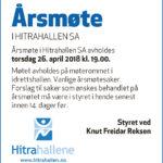 Årsmøte - Hitrahallen torsdag 26 april 2018 kl. 19.00